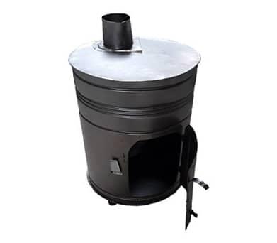 بخاری هیزمی فولادی استوانه ای ورق سیاه