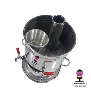 سماور زغالی استیل دو شیر 10 لیتری